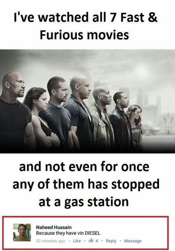 Fast and Furious Movie Funny Meme