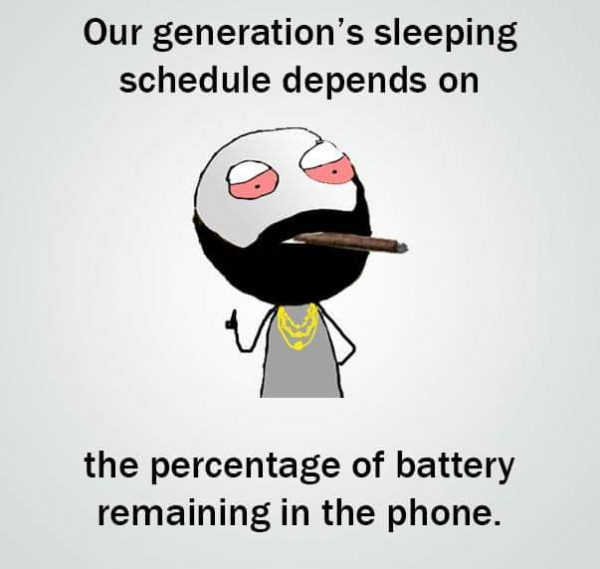 Generation Sleeping Schedule Depends on Phone Battery Funny Meme