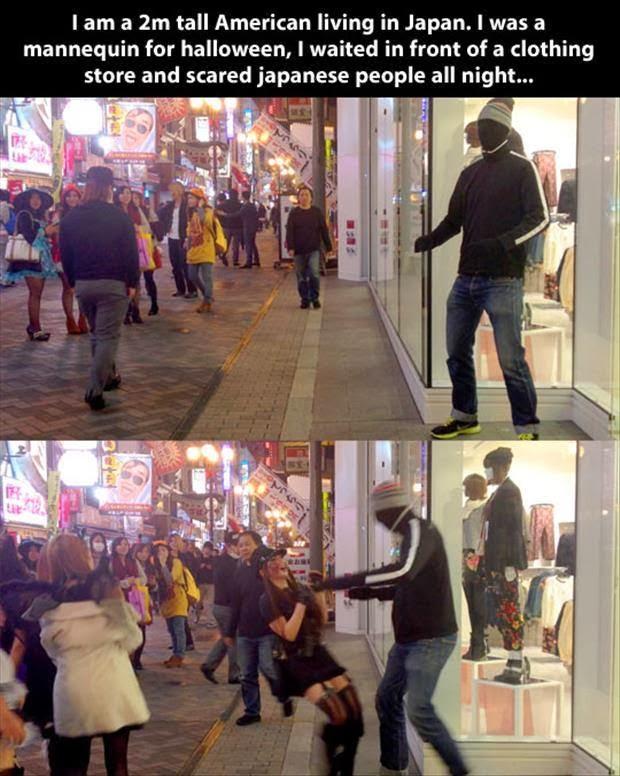 japanese mannequin halloween prank funny meme funny memes - Funny Halloween Prank
