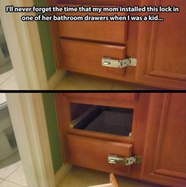 Mom installs lock on bathroom drawer Funny Meme