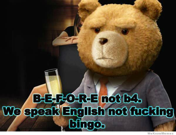 Speak English Not Bingo Funny Meme