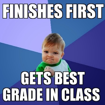 Success kid finishes first gets best grade Funny Meme