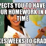 Unhelpful Highschool Teacher weeks to grade homework Funny Meme