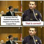Woman Shot her Husband for stepping on wet floor Funny Meme