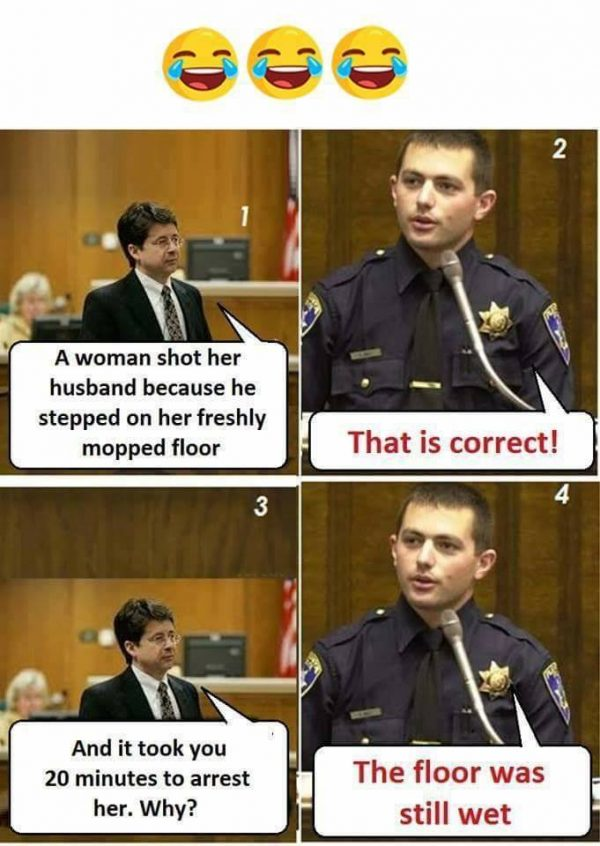 Woman Shot her Husband for stepping on wet floor Funny Meme